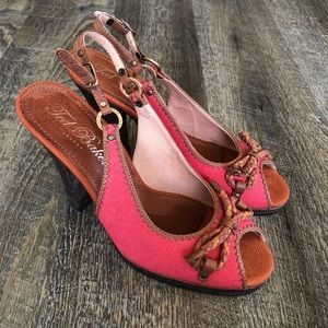 Ted Baker London Pink Orange Brown Canvas Heels